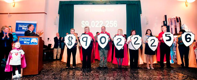 2011 Heart of Illinois United Way Campaign Raises More Than $9.022 Million. Photo by Matt Dayhoff, Peoria Journal Star.