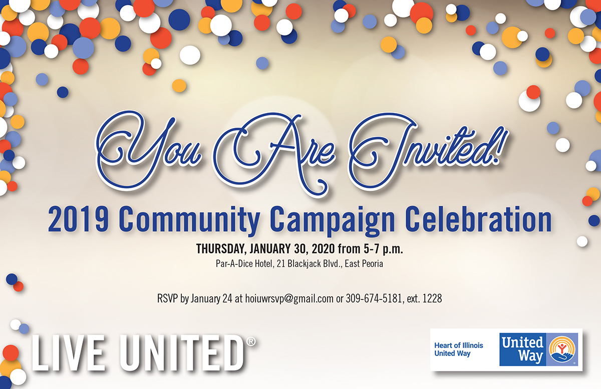 Join us at our 2019 Community Campaign Celebration where we announce the results of our 2019 Campaign on January 30, 2020 from 5-7pm at Par-A-Dice Hotel.